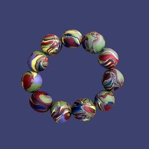 Camouflage Twirl Clay Statement Gelato Beads S/M